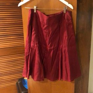 NWT ANN TAYLOR WINE COLORED FLARE SKIRT